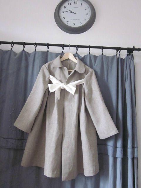 manteau d'été en lin brut noué d'un lien de lin ivoire - taille 44 (2)