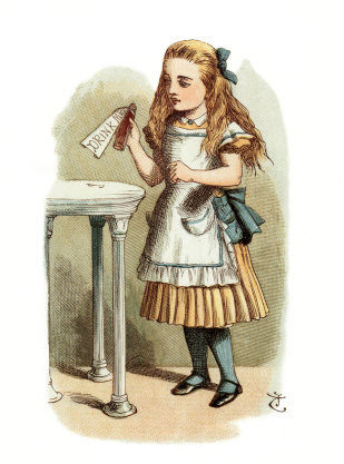 tenniel_color_alice_drink_me