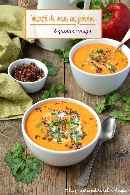 velouté maïs poivron et quinoa rouge vegan
