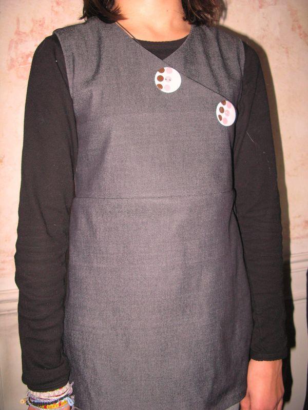 tunique croisée en jean's avec de gros boutons