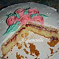 Gâteau Wilton roses icing coupé
