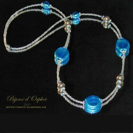 collier fantaisie perle murano bleu creation collier fantaisie