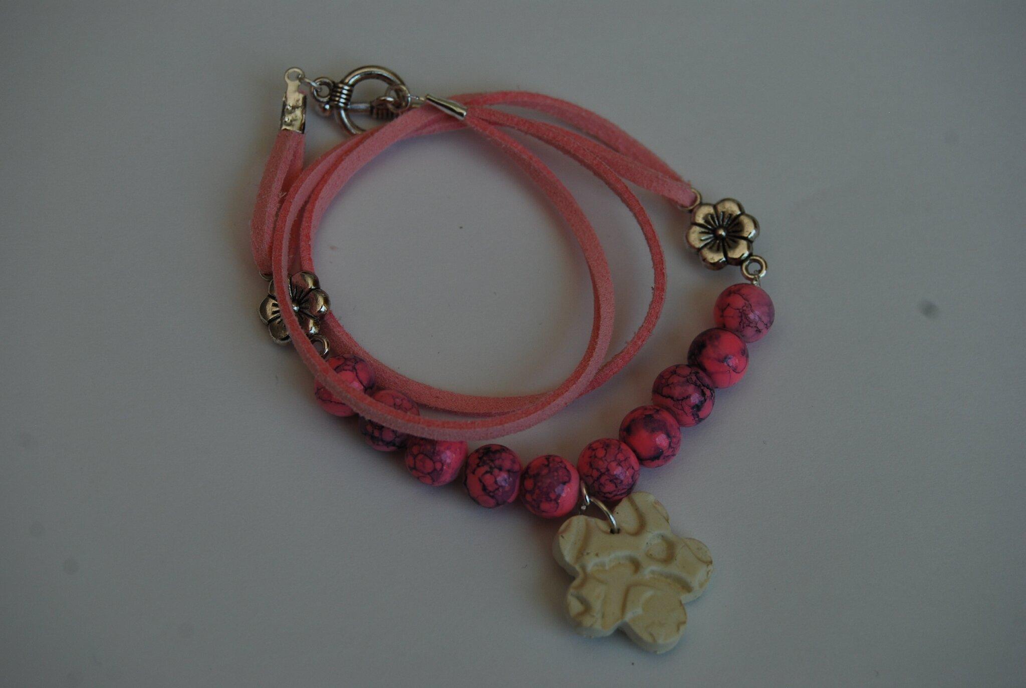bracelet double tour rose (dispo)