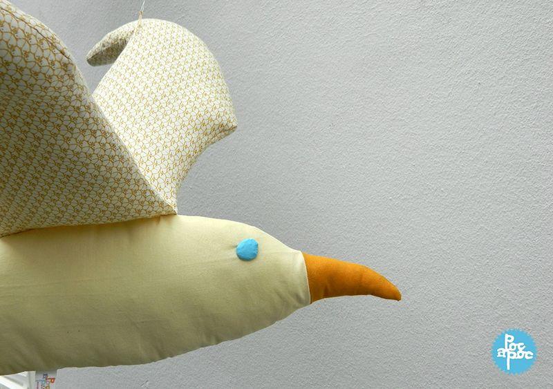 oiseau en tissu, poc a poc,goélande,albatros,cadeau de naissance,décoration chambre enfant6 blog
