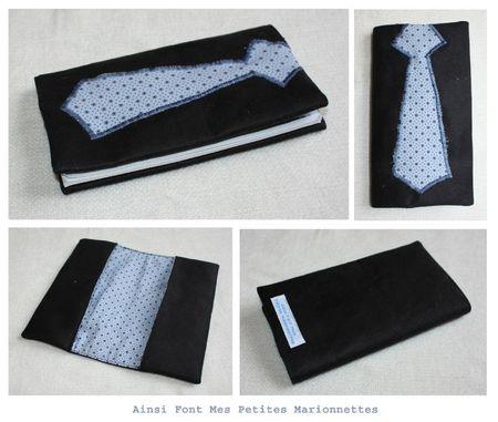 porte chequier cravate bleu rond