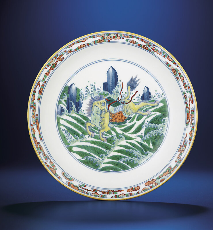 A rare finely enamelled doucai 'Qilin' dish, Yongzheng six-character mark within double-circles and of the period (1723-1735)