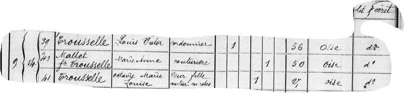 1872, Recensement, Noyon, TROUSELLE, Victor, MALLET, Marie Anne, TROUSELLE, Octavie 2