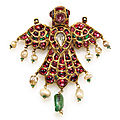 A bird-form gem-set pendant, india, deccan, 19th century