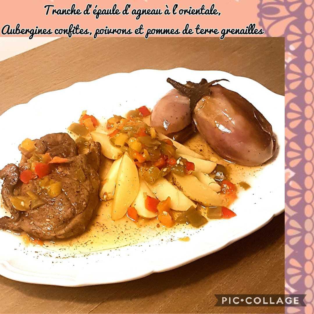 Tranche d'épaule d'Agneau à l'orientale, Minis Aubergines confites, Poivrons et Pommes de terre Grenailles
