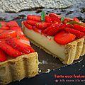 Tarte aux fraises et tofu soyeux à la verveine