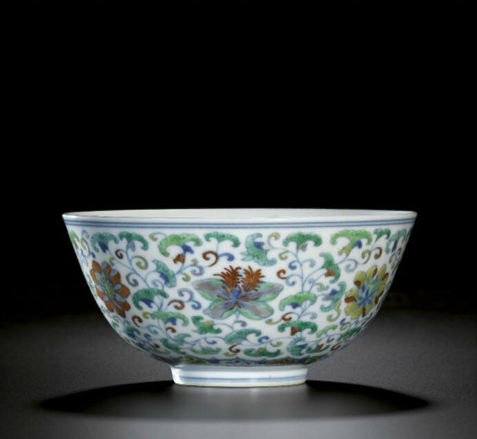 A 'doucai' floral scroll bowl, Seal mark and period of Daoguang