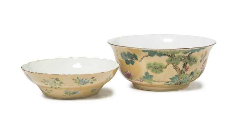 Twocafé-au-lait-groundfamille rosebowls, Daoguang six-character seal marks in iron-red and of the period (1821-1850)