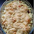 Gratin de pâte et crevettes au curry