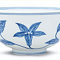 Blue and white 'lily' palace bowl, mark and period of Chenghua from the collection of Lord Cunliffe Sotheby's Hong Kong, 20th May 1980, lot 39
