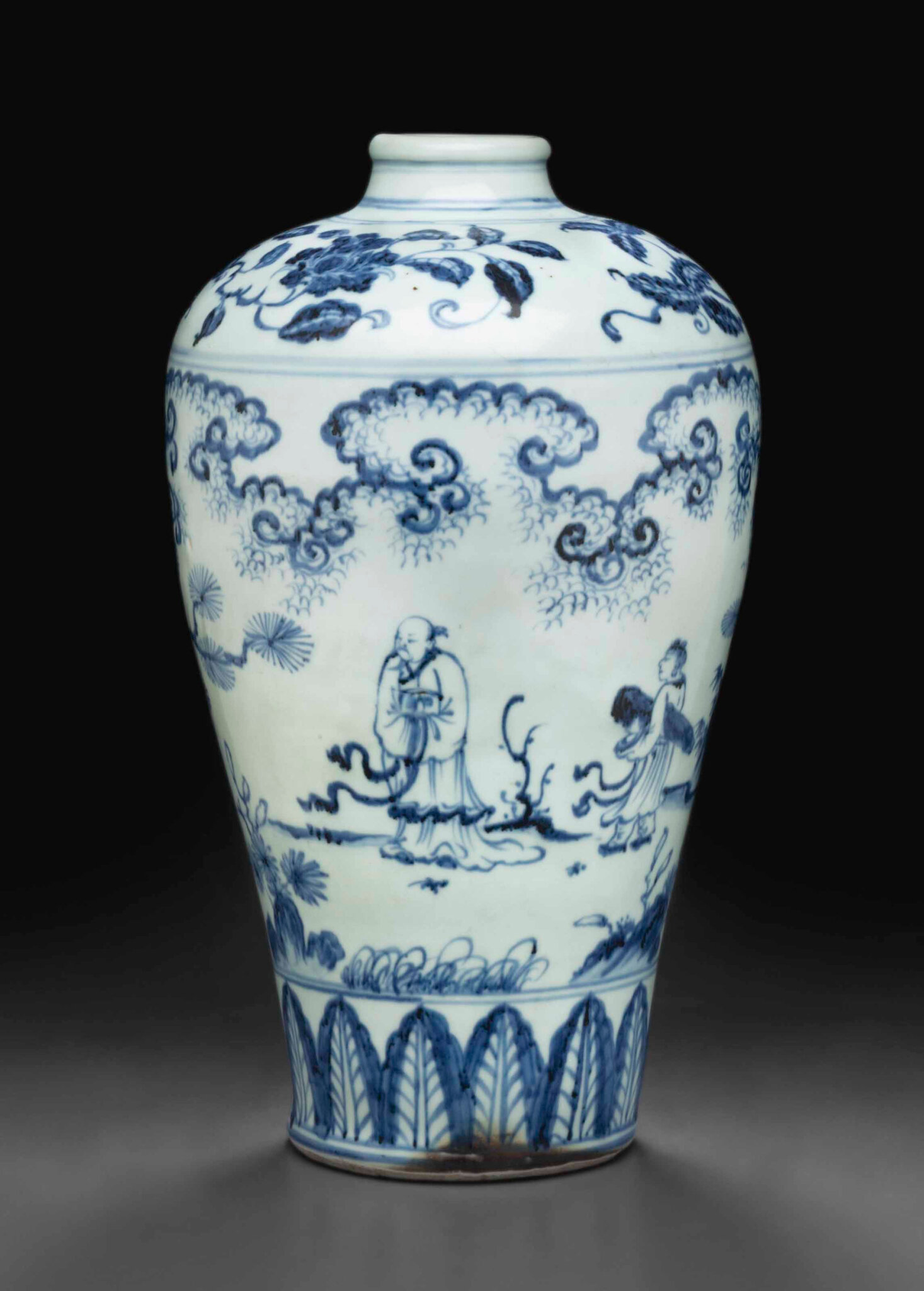 A blue and white 'windswept' meiping, late 15th century
