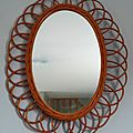 Miroir en rotin ovale