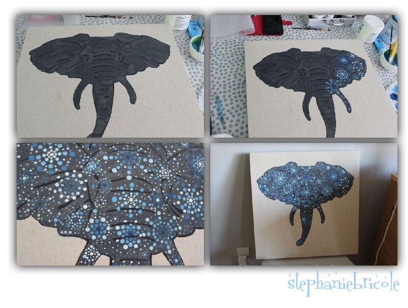 elephant pointillisme
