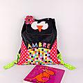 Sac à dos fille école maternelle personnalisable prénom Ambre sac à dos bébé crèche cadeau baptême naissance personnalisé kids personalized backpack name owl