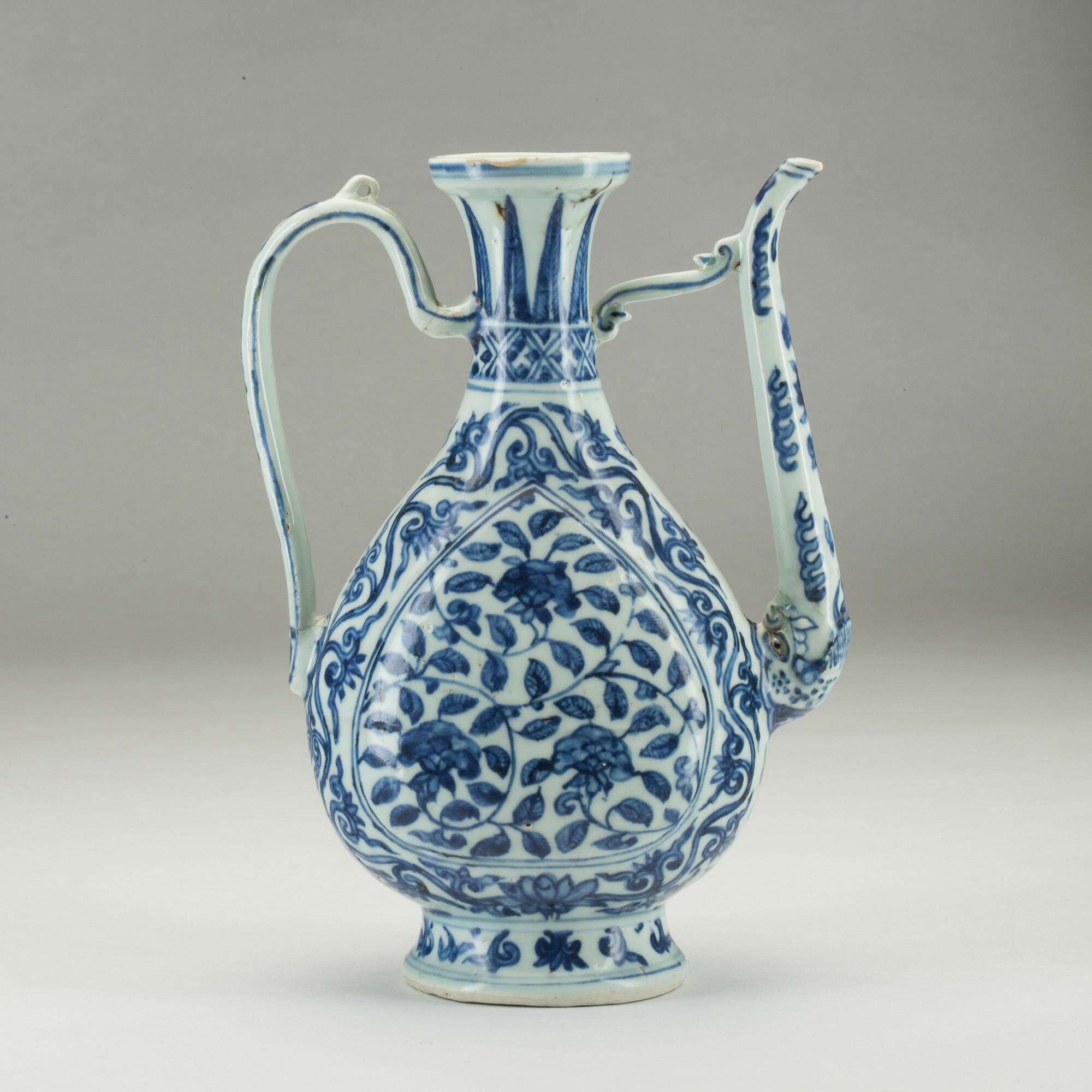 Blue and white ewer, China, Ming Dynasty, Jiajing Period with apocryphal four-character Xuande mark