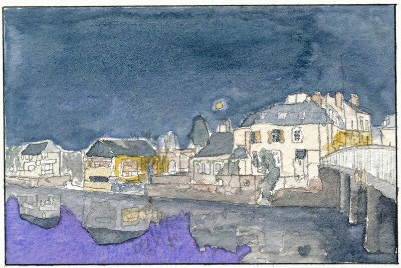 33 Sablé - Bord de Sarthe la nuit (vue depuis le pont de la Grande rue) 1992 03 08 (1 de 4)