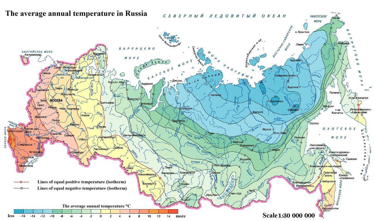 The average annual temperature in Russia