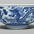 A blue and white 'Dragon' bowl, Daoguang seal mark and period