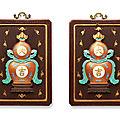 A pair offamille rose'daji' double-gourd wall plaques, qianlong-jiaqing period (1736-1820)