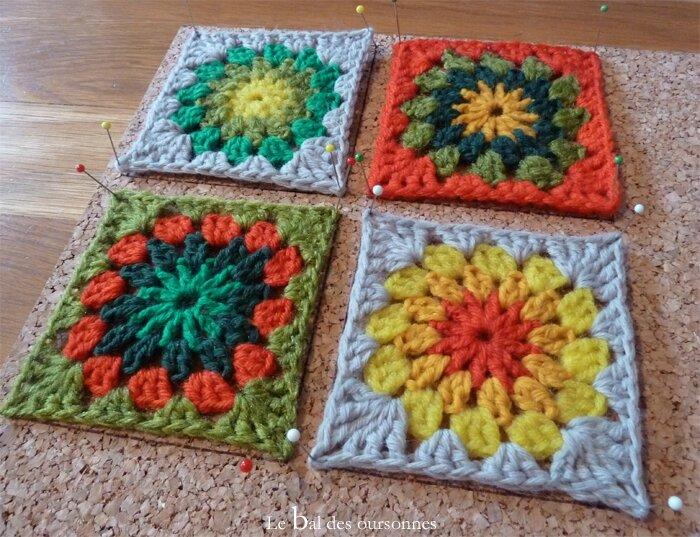 71 Liège plaque Bloquer Blocage Grannies Granny Sunburst Crochet 4