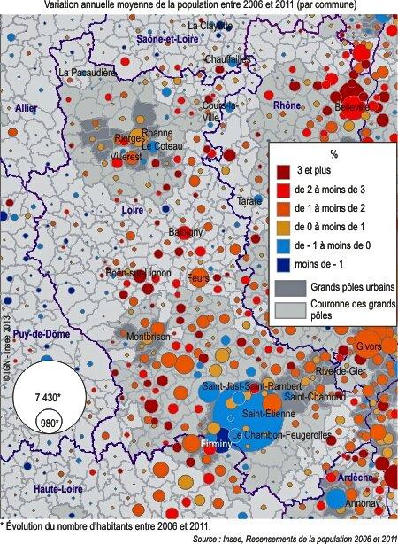 carte population 42 entre 2006 et 2011