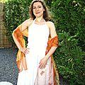 Vendue accessoire mariage etole cérémonie cocktail papillons organza orange