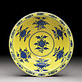 A yellow-ground and blue and white 'flowers' bowl, mark and period of yongzheng (1723-1735)