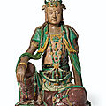 A large glazed tileworks figure of seated guanyin, ming-early qing dynasty, 16th-17th century