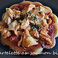 Tartelette au saumon bio sur pâte semi-liquide