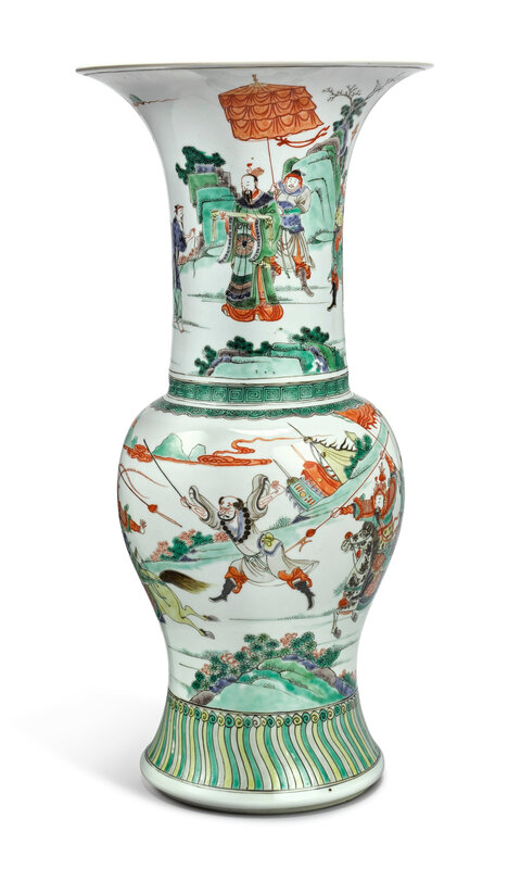 A fine famille-verte 'Romance of the Western Chamber' phoenix-tail vase, Qing Dynasty, Kangxi Period (1662-1722)