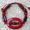 Bracelet coulissant acrylique et perles de Bohème Rouge