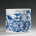 A blue and white cylindrical brushpot, qing dynasty, kangxi period (1662-1722)