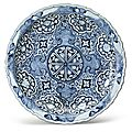 A rare molded blue and white barbed rim dish, yuan dynasty, 14th century