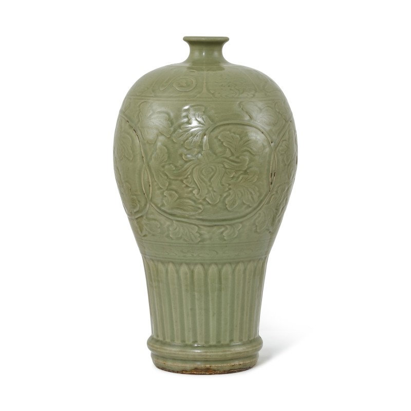 A large inscribed Longquan celadon meiping, Ming dynasty (1368-1644)