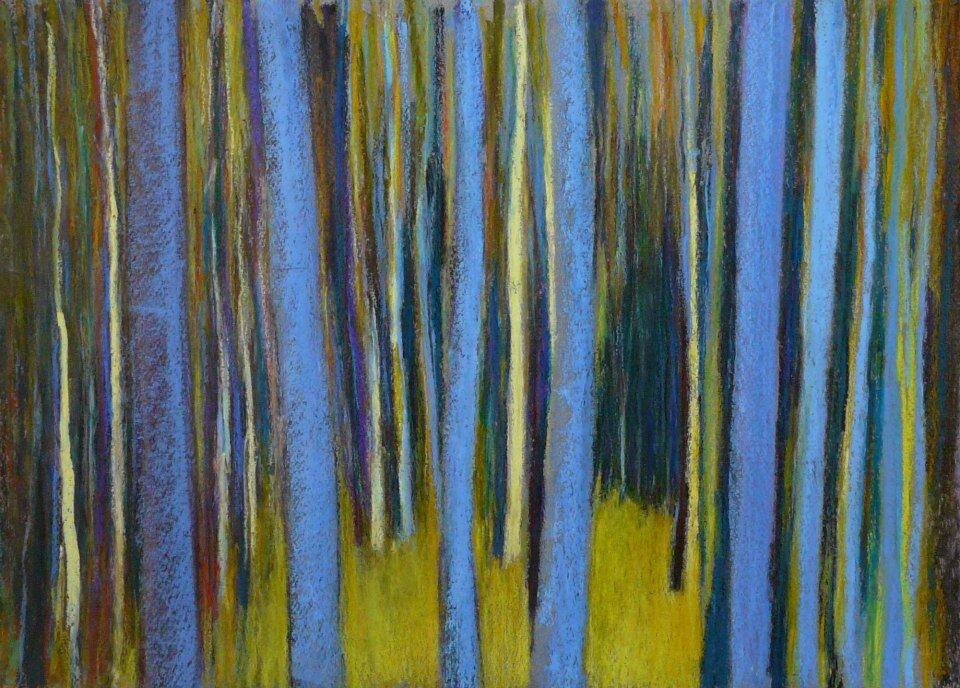 Forêt #52 cinq troncs bleus, 2012, pastel à l'huile, 3é x 24 cm