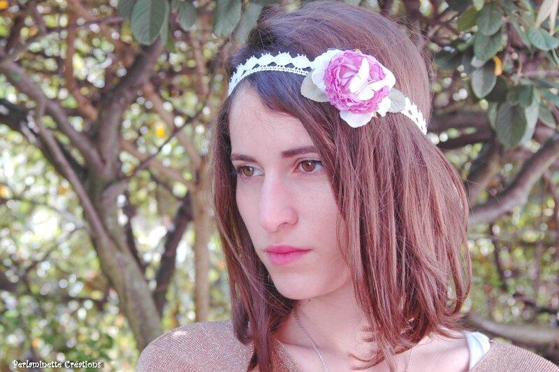Serre tête mariée rose parme et papillon