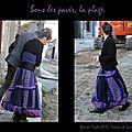 Jupe longue violet motifs