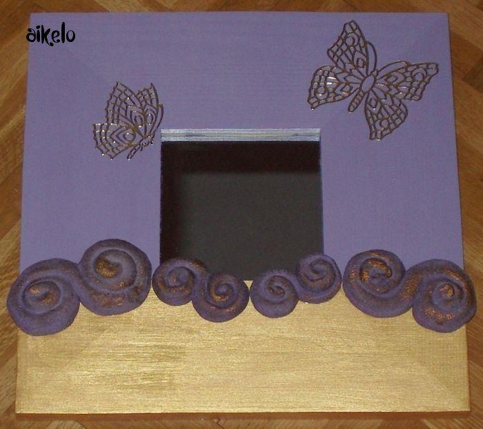 Miroir papillon violet_or