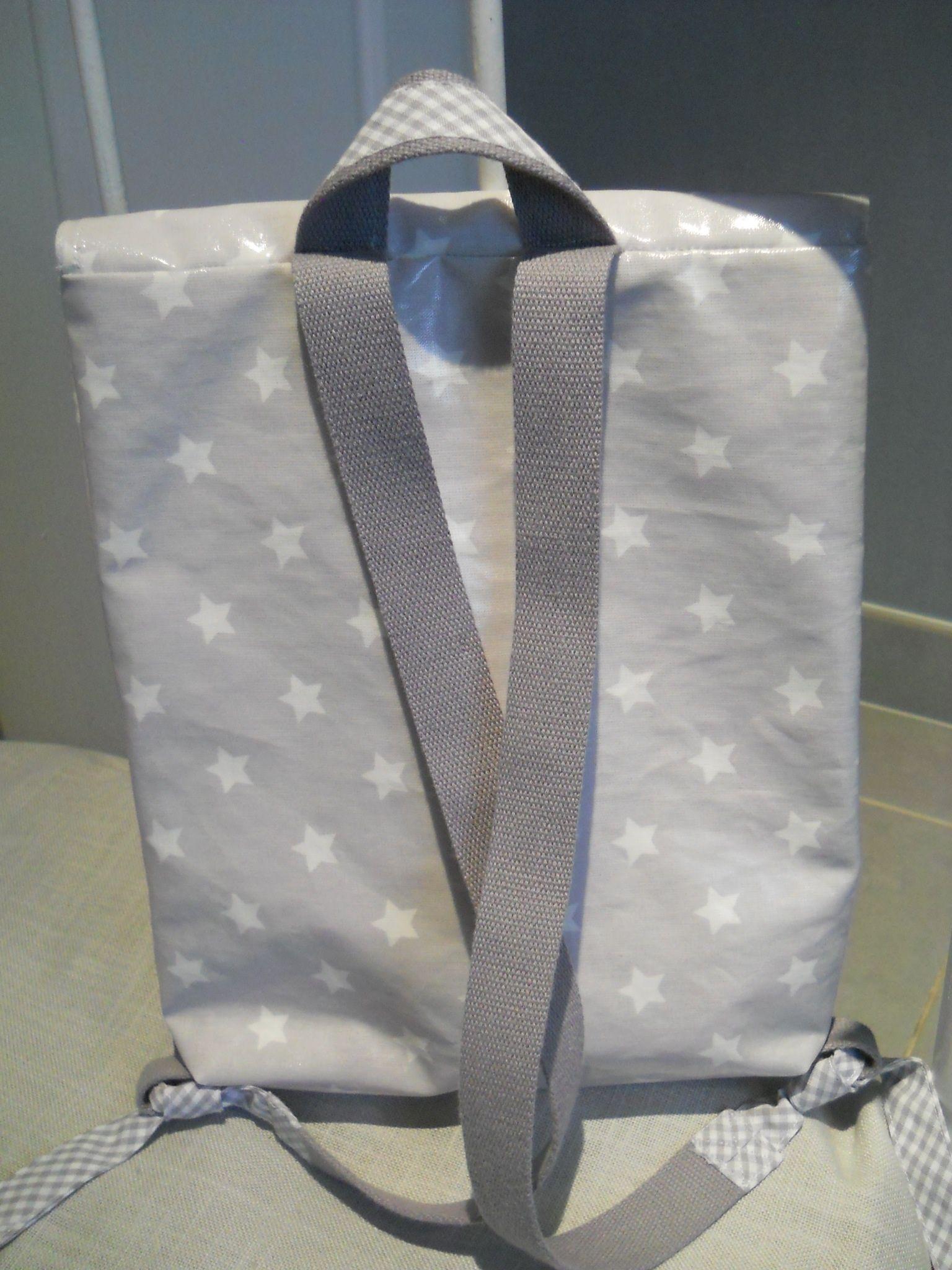 Cartable maternelle coton enduit gris étoiles