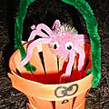Citrouille et araignée - panier à bonbons pour halloween