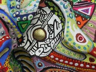 Hervé THAREL - SCHMIMBLOCK'S talltem 2013 - gouache T7 sur argile 45,5 x 10 cm détail 7