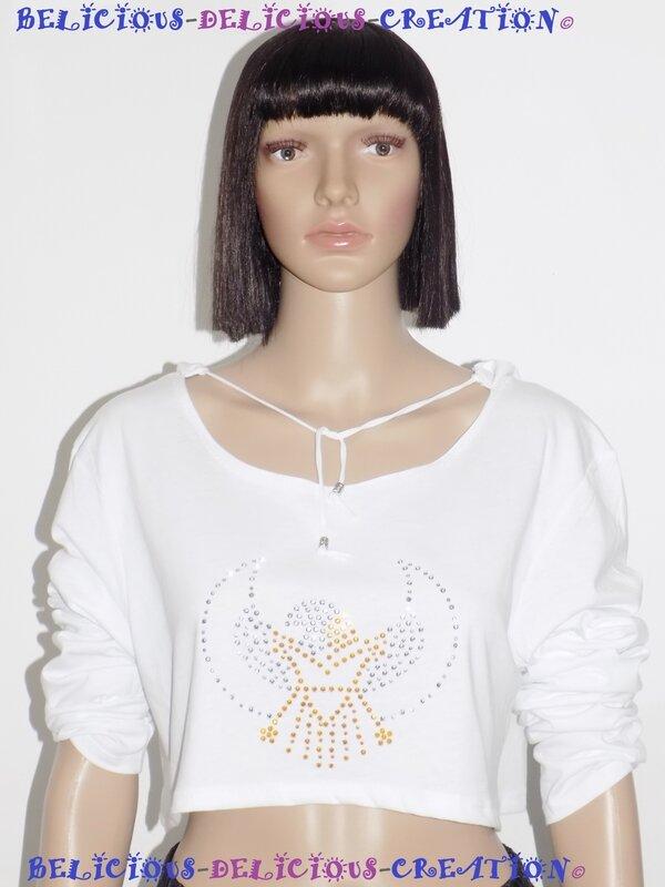 white hoody with motif eagle en diamante femme d