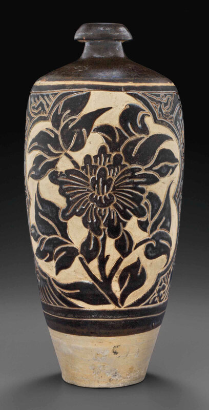 A Cizhou-type carved dark brown-glazed meiping, Jin dynasty, possibly Xixia Kingdom, 12th-early 13th century