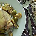 Cuisses de poulet aux olives vertes et champignons