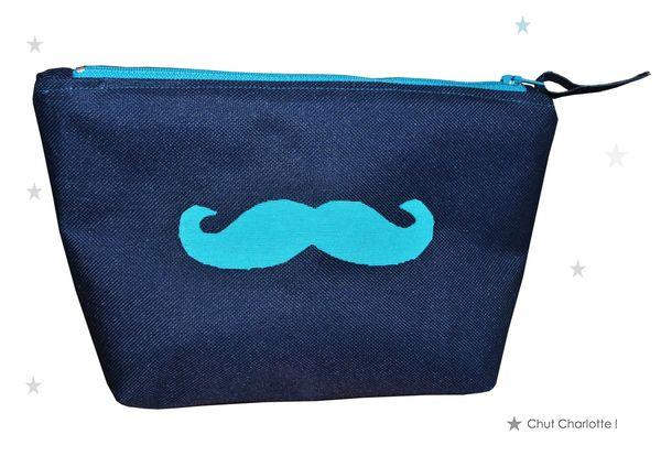 Trousse moustache bleu turquoise (1chch)