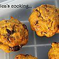 Muffins d'halloween au potiron, carotte, banane et pépites de chocolat